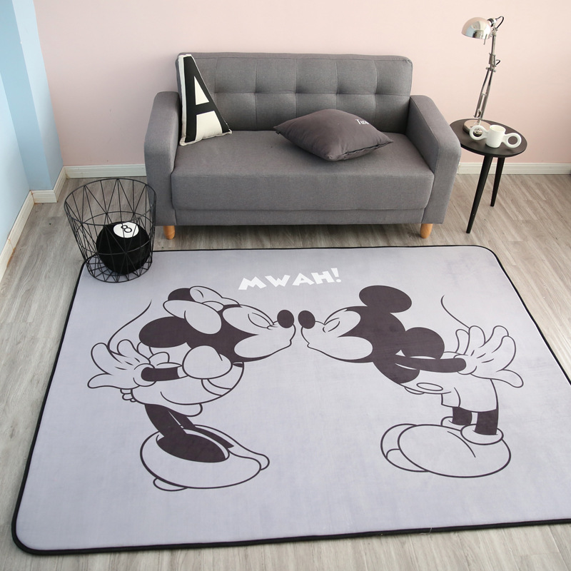 Disney Mickey Minnie Mouse Rug Child Baby Crawling Game Mat Coral Fleece Carpet Indoor Welcome Soft Four Season Mat gift