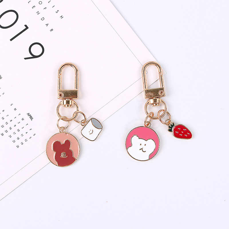 Fashion Strawberry Bear Key Chains Cartoon Cute Car Bag Pendant Keychain Keyring Jewelry for Women Girls Key Holder Charm Gift
