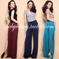 FREE SHIPPING 2016 Summer New Arrival All Match Comfort Rayon Satin Drape Split Solid Wide Leg Long Pants Women Loose Trousers