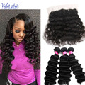 8A Onda Profunda Profunda brasileña Curly Hair Bundles Con El Cordón Frontal Brasileño Armadura Profunda frontal Con El Océano Pelo de la Armadura Bundles 100g