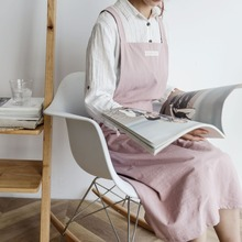Literary fresh cotton and linen apron ladies waist anti-oil hood clothing home baking floral painting overalls