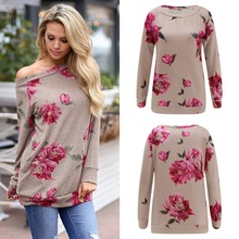 Plus Size Women Long Shirt Floral Printed Round Neck Blouse Polyester Cotton Ladies Tops