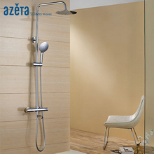Azeta Bathroom Bathtub Faucet Shower Faucet Chrome Plated Bath Mixer Tap Wall Mounted Thermostatic Rainfall Shower Set  AT7718T цены