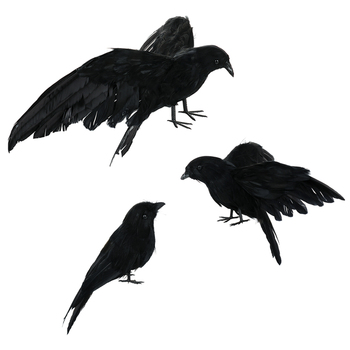 3Pcs Realistic Black Ravens Crow Prop Feathered Crows Halloween Prop Decor Party Magic Decoration 1