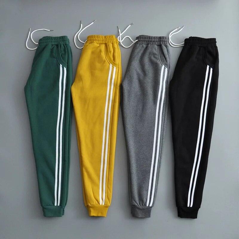 2018 ผู้หญิงฤดูหนาวผ้าฝ้ายหนากำมะหยี่ sweatpants Casual สีขาวเย็บปิด Comfy Sweatpants กางเกงกางเกง-ใน กางเกงและกางเกงรัดรูป จาก เสื้อผ้าสตรี บน AliExpress - 11.11_สิบเอ็ด สิบเอ็ดวันคนโสด 1