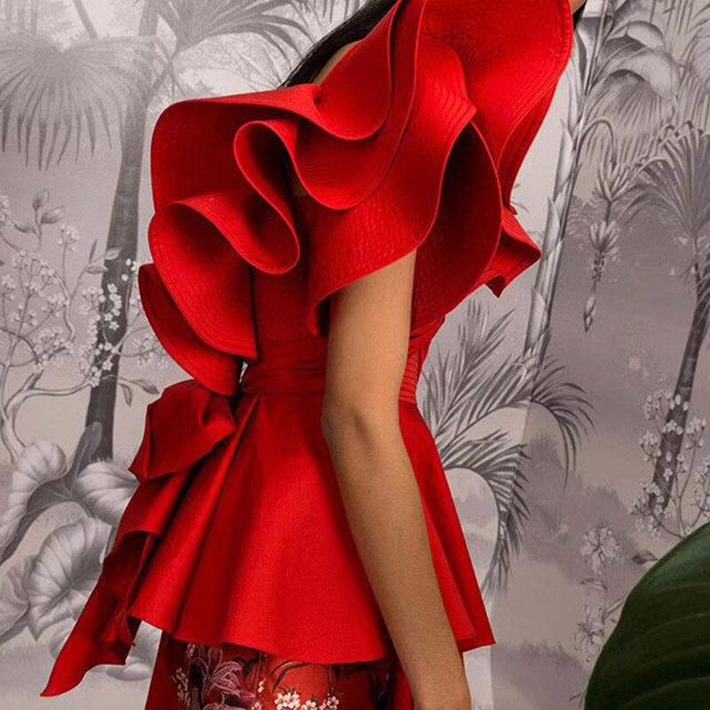 MIAOQING asymétrique chemise hauts femme épaule dénudée à lacets irrégulière à volants Sexy Blouse femmes mode 2018 automne nouveau - 6