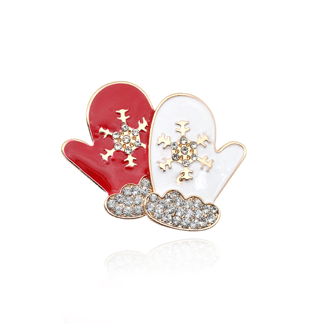12f7f8762ad Christmas Brooches Rhinestone Charm Gloves Snowflake Brooches For Women  Brooches Pins Lapel Vintage Christmas Gifts Dropshipping