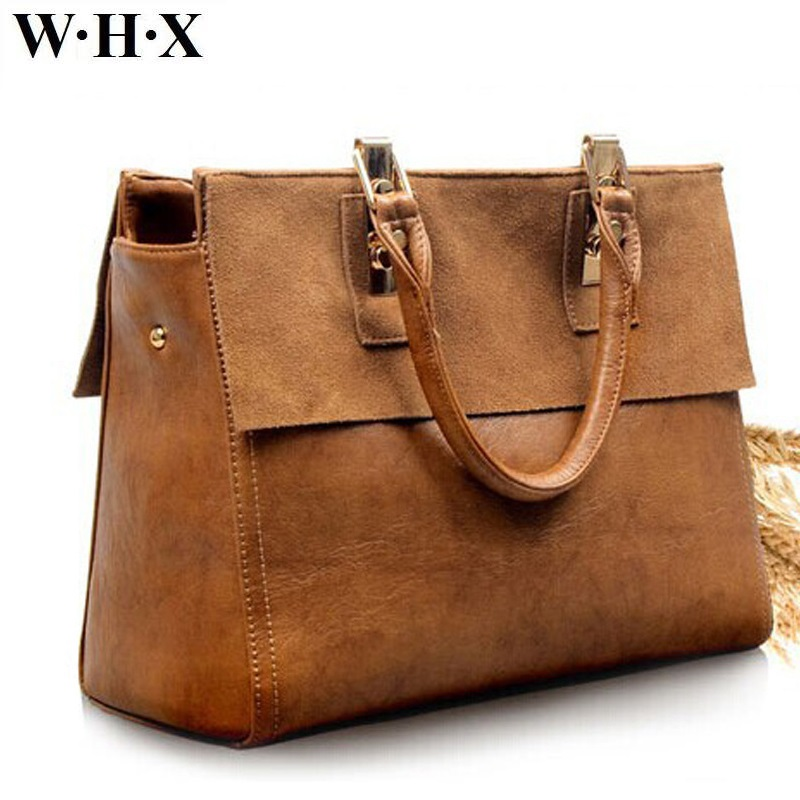 WHX Designers Fashion Style Genuine Leather Women Brown Tote Bag CrossBody Bag Female Messenger Bag Lie Fallow Cowhide Handbag whx new style casual fashion women tote bag crossbody bag female shoulder messenger bag leather cartoon cat bear sequin handbag