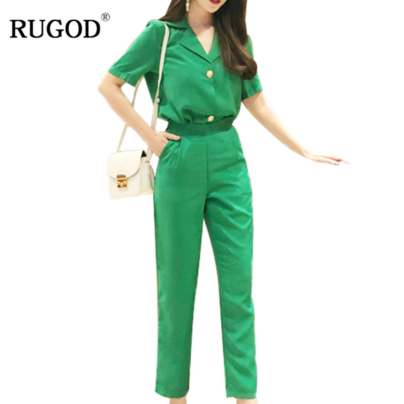 RUGOD Summer Elegant Business Suits Women single breasted Blazer and Long Pants Suits Feminino OL Slim Runway Trousers Suits
