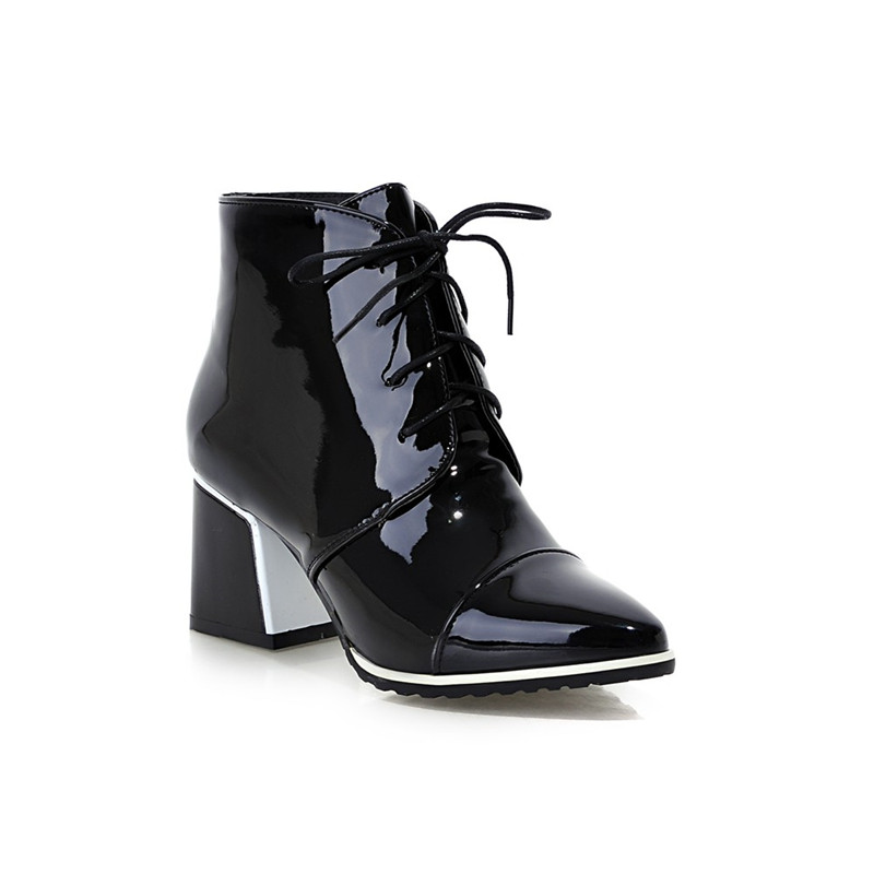 Smirnova Chaussures Up Dentelle Pu De Taille Noir blanc vin Femme Mode Talons Carrés Automne Chaude Blanc Rouge Hiver Cheville En Grande 2018 Bottes Cuir rqFPrwvU
