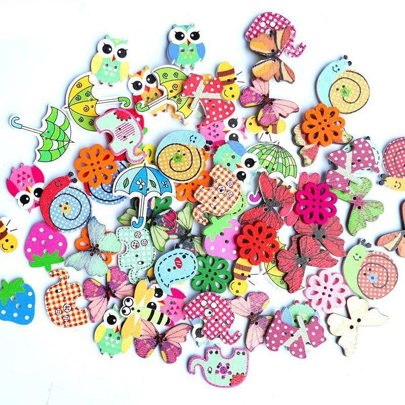 50Pcs//Lot Wooden Mixed Bulk 2 Holes Animal Sewing Buttons Scrapbooking DIY CGTY