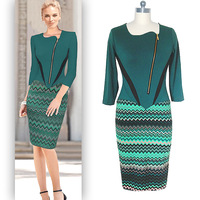 Women Vestidos Europeos Sexy Fashion Half Sleeve Stitching Zipper Slim Pencil Dress Europe And America Style