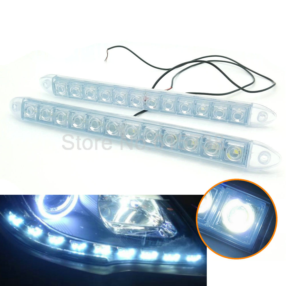 NEW Silicone flexible 2 12LED Daytime running lights DRL Driving Lamp soft LED auto headlight with