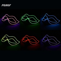 2017 FGHGF Fox Glass Mask EL Wire Masks Glowing Halloween Festival LED Glowing Party DJ Dance