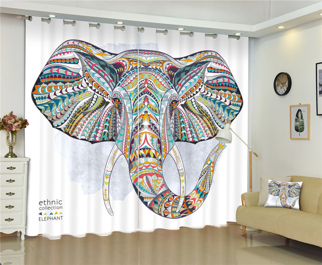 ELephant Tapestry Luxury 3d Curtains For Living Room Bed Office Hotel Home Window High