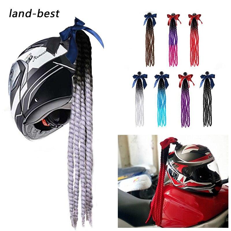 Land-best Free Style Motorcycle Braids Wig Twist Helmet Handmade Decoration Punk Dirty Braid Motocross Racing Moto Helmet Braids