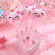 Plush Pink Pig Ballpoint Pen Cute Bow ball Pens For Kids Gifts School Supplies Cute Stationery 1pcs flexible ball pen cute soft plastic bangle bracelet ballpoint pens school office gifts