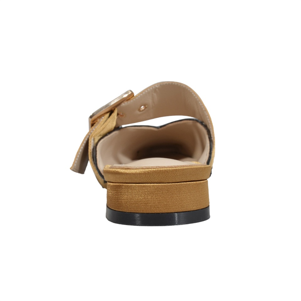 summer and autumn women 39 s slippers fashion square buckle decorative square toe real leather comfortable inner female slippers in Slippers from Shoes