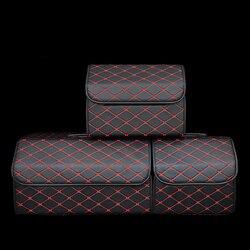 Składany torba do przechowywania do bagażnika organizator z pokrywką przenośny do przechowywania samochodu rozmieszczenie Tidying PU Leather Auto bagażnik Box organizator