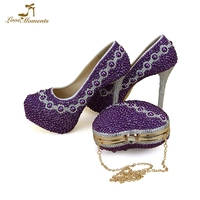 Women Fashion Crystal Wedding Shoes with matching bags Lady Party Prom High Heels Purple Pearl Bride Dress Shoes and Purse Set