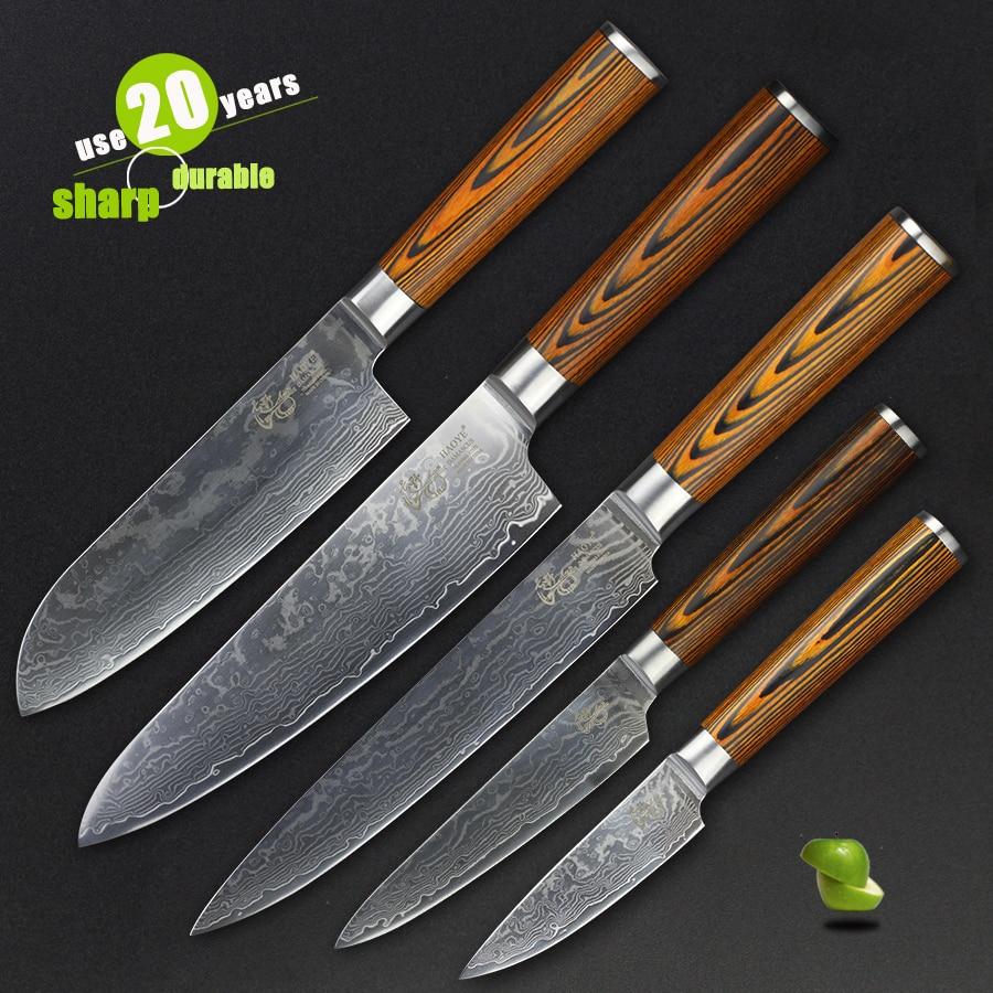 HAOYE 5 Pcs Damascus Kitchen Knives Set Japanese Vg10