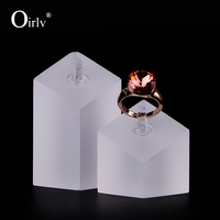 Delicate Matte Acrylic Earring Exhibitor Holder Stand Set Diamond Shape Prop Jewelry Display Set Shop Show