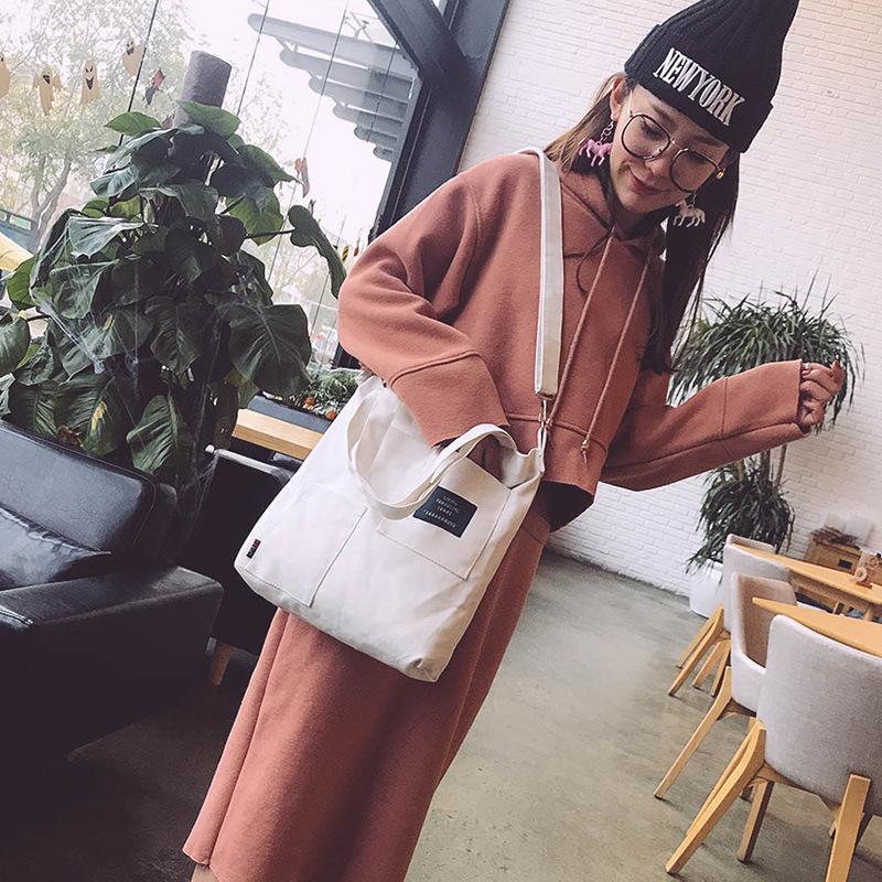 Raged Sheep Large Reusable Grocery Women Bag Casual Daily Use Foldable Canvas Shoulder Plaid Tote for Female
