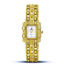 Nouveau Femmes D'affaires Montre À Quartz Horloge Or Argent Alliage Montre-Bracelet pour les Femmes Fille Cadeau Femme
