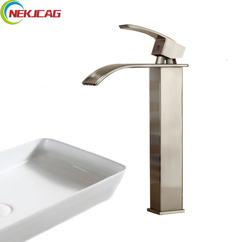 Waterfall Spout Bathroom Faucet: Nickel Brushed Waterfall Spout Bathroom Basin Sink Mixer
