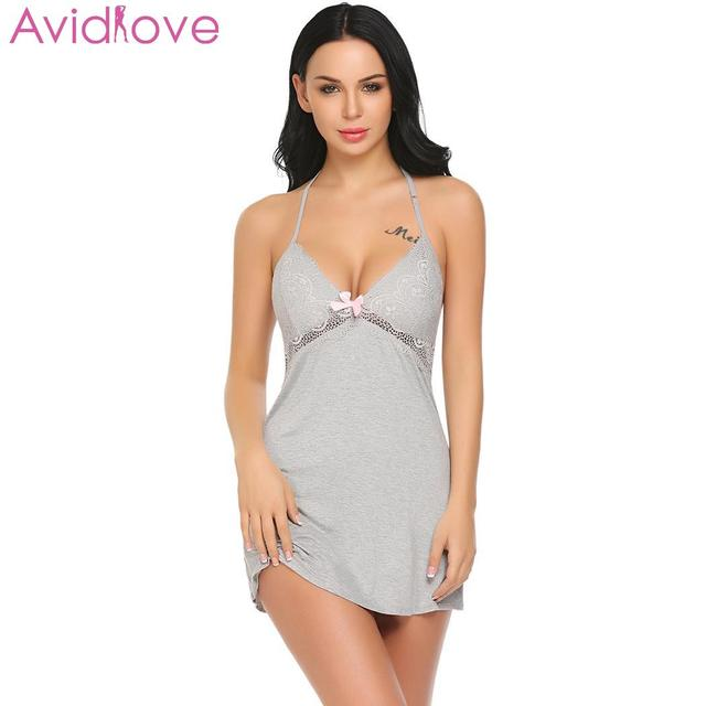 Avidlove Women Nighr Dress Nighty Sleepwear Sexy Lingerie Babydoll Chemise Lace  Patchwork Nightwear with G- 07c232de4