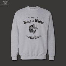 ゲーム の魂の家の黒と白バラー morghulis男性ユニ セックス 360gsm sweatershirt 82%綿フリース の内側送料無料