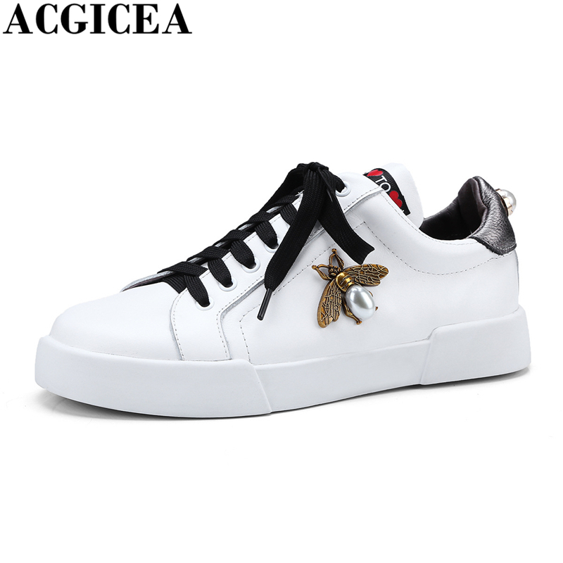 High Quality Genuine Leather Women Shoes Fashion Female Casual Shoes Heart & Bee Sneakers For Women White Flats Shoes Size 34-40 rizabina concise women sneakers lady white shoes female butterfly cross strap flats shoes embroidery women footwear size 36 40