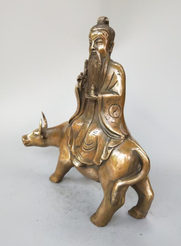 الصينية النحاس النقي الطاوية مؤسس لاو تزي لركوب البقر تمثال-في التماثيل والمنحوتات من المنزل والحديقة على  مجموعة 1