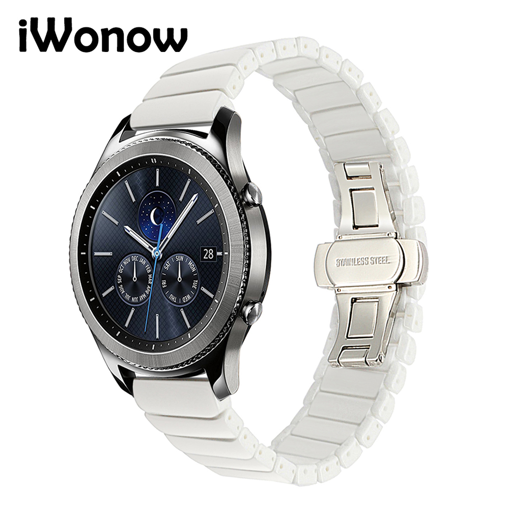 22mm Ceramic Watchband for Samsung Gear S3 Classic Frontier Xiaomi Amazfit Watch Band Steel Butterfly Buckle Strap Black White pure ceramic watch band 22mm for samsung gear s3 classic frontier butterfly buckle strap wrist belt bracelet black white polish