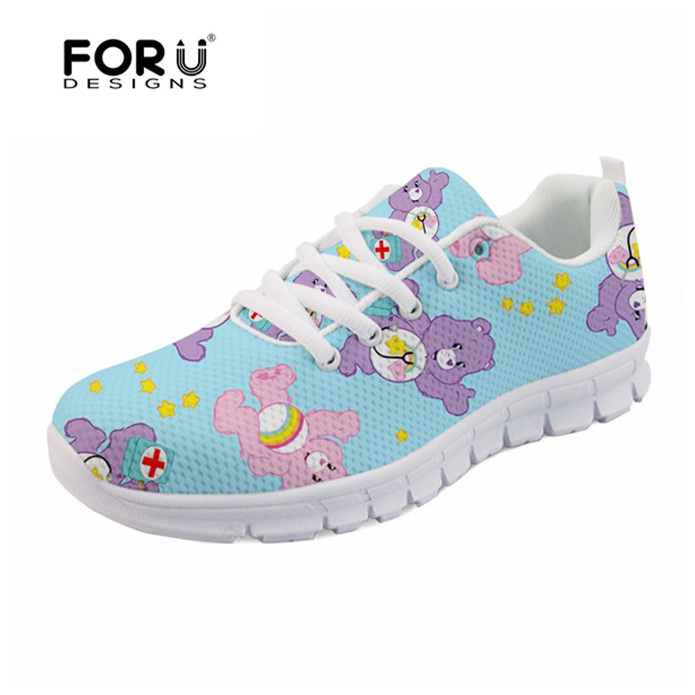 FORUDESIGNS Casual Women Flats Shoes Cartoon Nurses Bear Pattern Female Light Mesh Shoes Cute Nurse 3D Print Women's Sneakers instantarts pink sneakers women casual flats cute cartoon pediatrics bear doctor nurse pattern lady air mesh laces up flat shoes