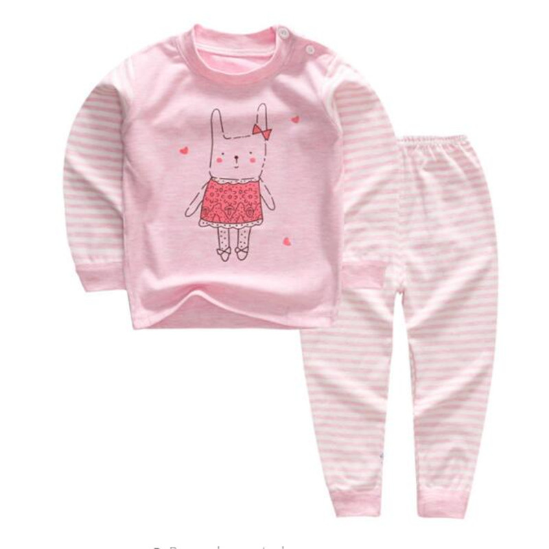 Newborn 2 years Kids Pajamas Set for Girls Cotton Cothes 2018 Autumn Baby Long-Sleeve Cartoon Tops+Pants Overalls Suit Costume ...