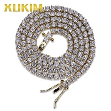 Xukim Jewelry 3mmTennis Chain Chocker Necklace AAA Cubic Zirconia Iced Out Hip Hop Jewelry Gift for Men Punk Rock Rapper Jewelry xukim jewelry full iced out prong setting aaa cubic zirconia silver color 8mm squire cuban chain necklace hip hop rapper jewelry