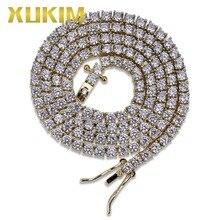 цена на Xukim Jewelry 5mm Tennis Chain Chocker Necklace AAA Cubic Zirconia Iced Out Hip Hop Jewelry Rock Rapper Jewelry