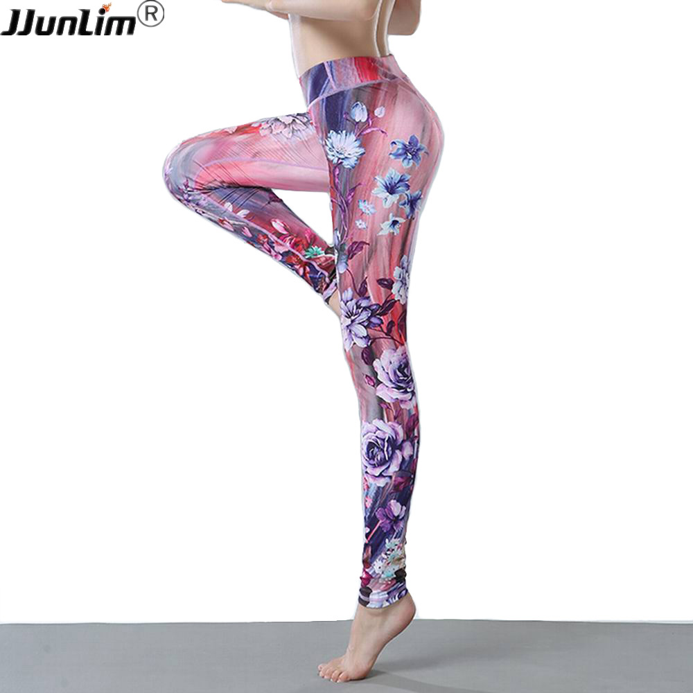 Flower Printed Yoga Pants Women High Waist Yoga Sport Leggings Fitness Running Tights Trousers Compression Sportswear yoga pant women s high waist mesh fitness pants yoga trousers leggings