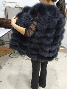 Image 2 - Doğal Gerçek Tilki Kürk Yelek Yeni Uzun Kalın Kadınlar için Hakiki Kürk Yelek Ceket Cepler Gerçek Kürk Yelek Palto Kadınlar ceket Uzunluğu 70cm