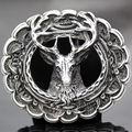 Fashion New Antique Silver 3D Deer Elk Antler Stag Buck Head Leaf Hunt Western Belt Buckle