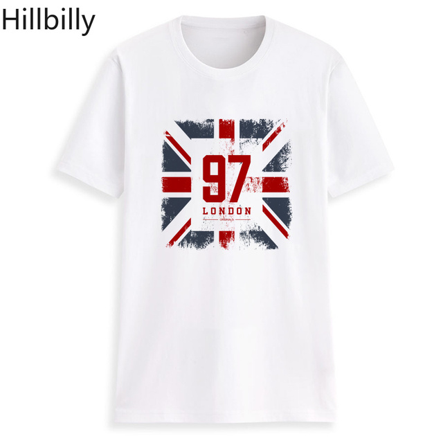 b5ce29aa3 Hillbilly Vintage T shirts Dark Gray Printed Old Flag 97 London Letter T  shirts for Women