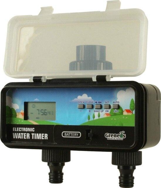 Lcd digital electronic solar jardim temporizador de água com a função de sensor de chuva 2 outlets adotar válvula solenóide 5 chaves para definir programa