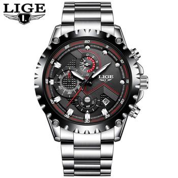 LIGE Men's Full Steel Chronograph Calendar Waterproof Quartz Watches 5