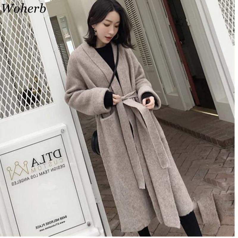Woherb 2020 Autumn Winter Knitted Long Cardigan Women Belt Bandage Sweater Jacket Ladies Causal Loose Sweaters Coat 22849