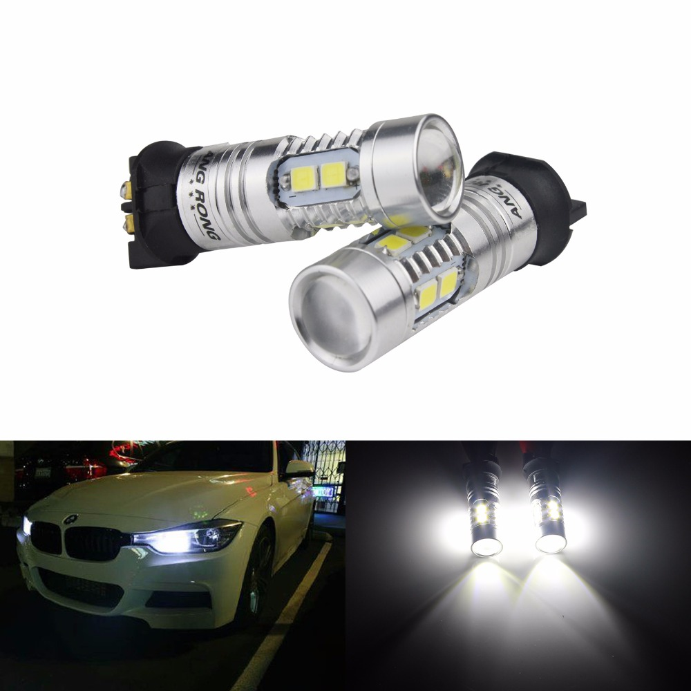 ANGRONG 2x <font><b>PW24W</b></font> SAMSUNG 10W 2835 LED Turn Signal Daytime Running Light DRL White For VW (CA211x2) image