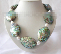feel shipping RHJ0087 stunning big baroque green sea shell white pearl necklace