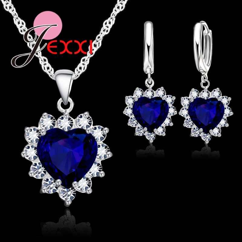 Modny w kształcie serca kryształowy wisiorek 925 Sterling Silver naszyjnik Loop kolczyk biżuteria ślubna zestawy niebieskie z cyrkonią akcesoria