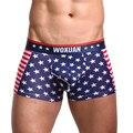 Новый Стиль мужское Белье С Звезды И Полосы Американского флага Печати мужские Трусы-Боксеры Хлопка Боксер Homme Бесплатная доставка