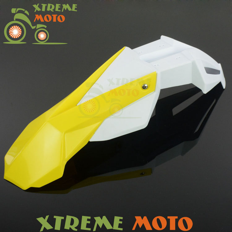 Yellow+White Front Fender Mudguard For Suzuki RM85 RM125 RM250 RMZ250 RMZ450 RMX250 DR250 DRZ400 Motocross Enduro Dirt Bike cnc front brake line hose clamps holder for suzuki rm85 rm125 rm250 rmz250 rmz450 rmx450z drz400sm motorcycle
